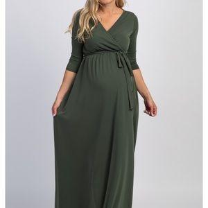 PinkBlush Olive Green Maternity Maxi Dress